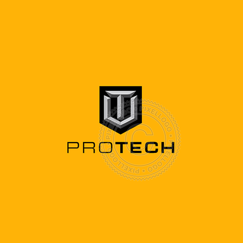 Chiseled Security Shield - Pixellogo