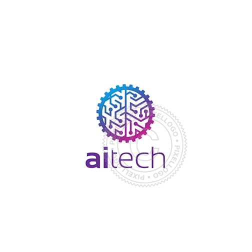 Artificial intelligence - Gear Brain logo template | Pixellogo