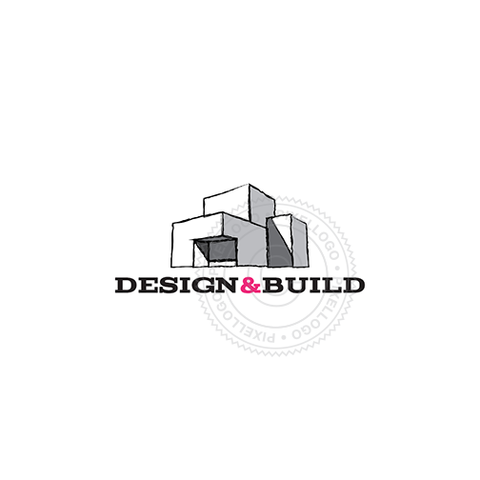 Design & Build Construction Company - Sketched building logo | Pixellogo