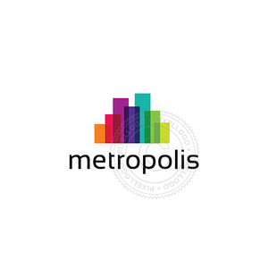 Metropolis Color logo - Rainbow color city | Pixellogo