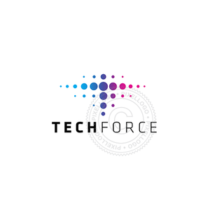 Tech Force Logo - T designed with dots | Pixellogo