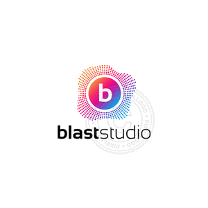 Blast Audio Studio Logo - digital sound dots | pixellogo