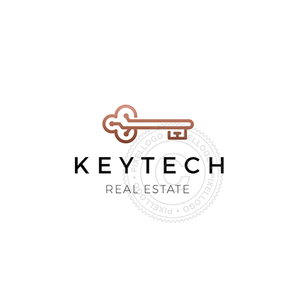 Key Technology logo - Key with electric board | Pixellogo