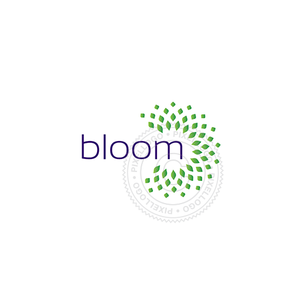 Bloom Logo - Green Leaves Bursting | Pixellogo