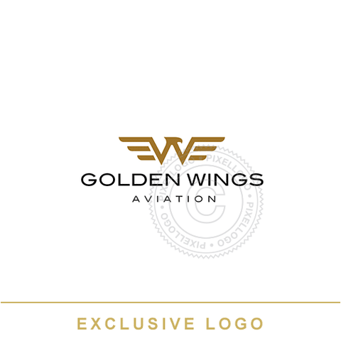 Gold Wings Aviation Logo - Pixellogo
