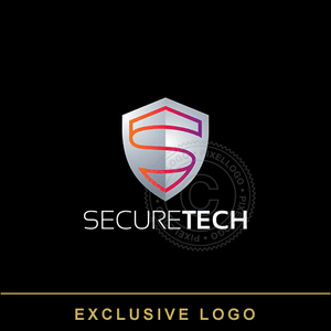 Secure Technology Shield logo - Pixellogo