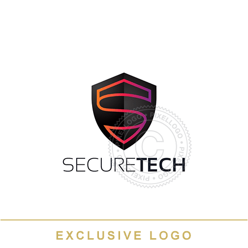 High Tech Secure Shield logo - Shield S logo | Pixellogo