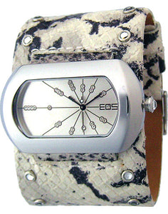 EOS New York Women's Wide Band Cuff Python Print Watch in Cream