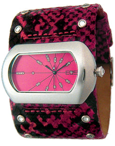EOS New York Women's Wide Band Cuff Python Print Watch in Fuschia