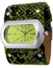 EOS New York Women's Wide Band Cuff Python Print Watch in Green