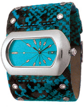 EOS New York Women's Wide Band Cuff Python Print Watch in Blue