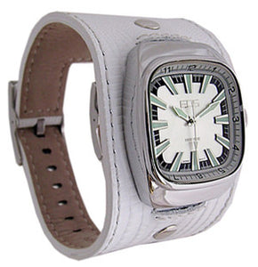 EOS New York Ring Leader Wide Band Watch in White
