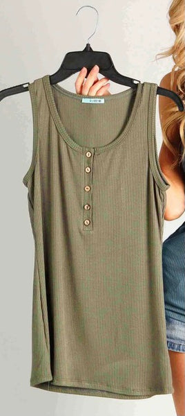 Bailey Button Tank in Olive