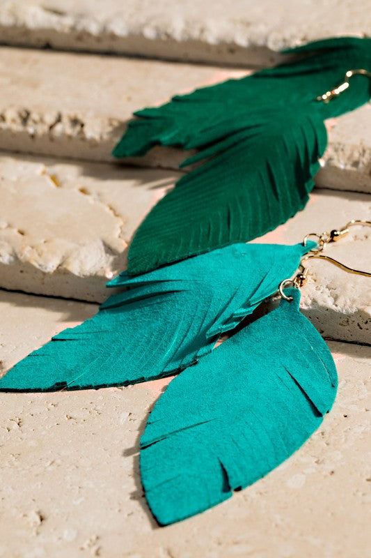 Leather Leaf Earrings in Turquoise