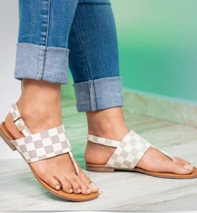 Buckled White Checkered Sandals