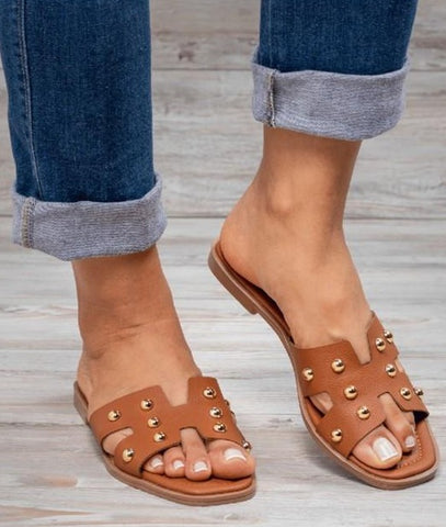 Cognac Studded Sandals