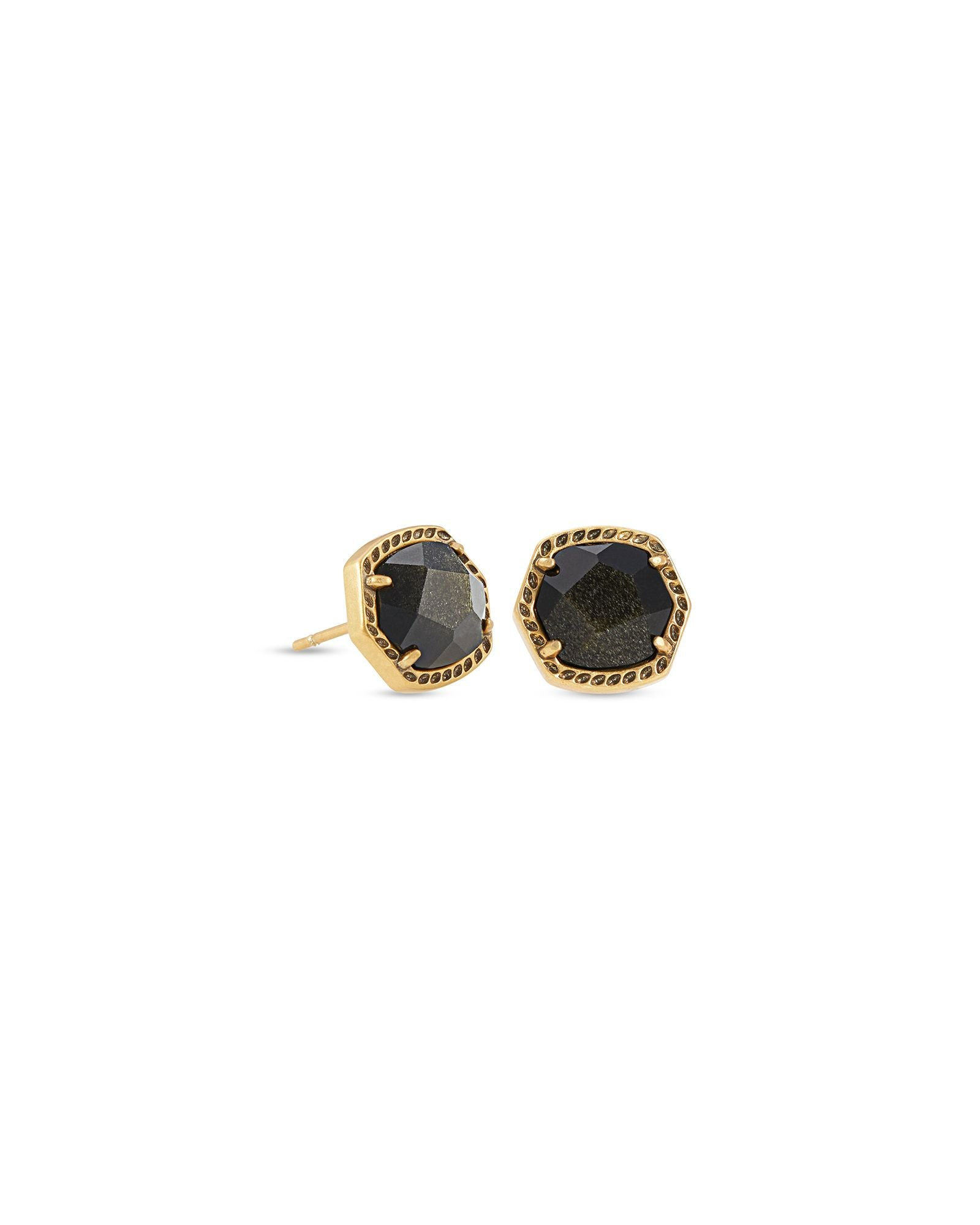 Davie Stud Earrings in Vintage Gold Golden Obsidian