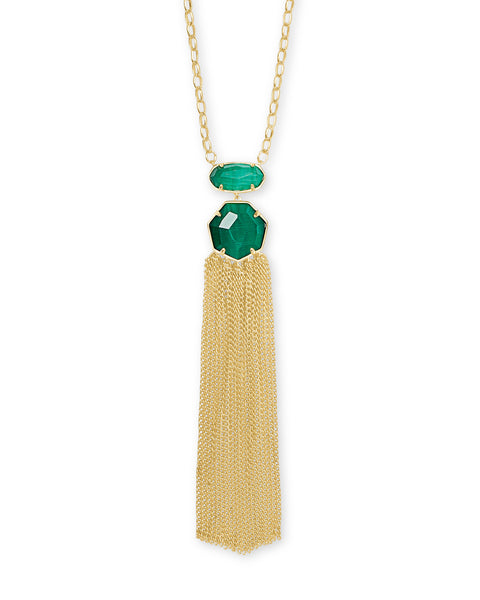 Tae Gold Pendant Necklace in Emerald Cats Eye
