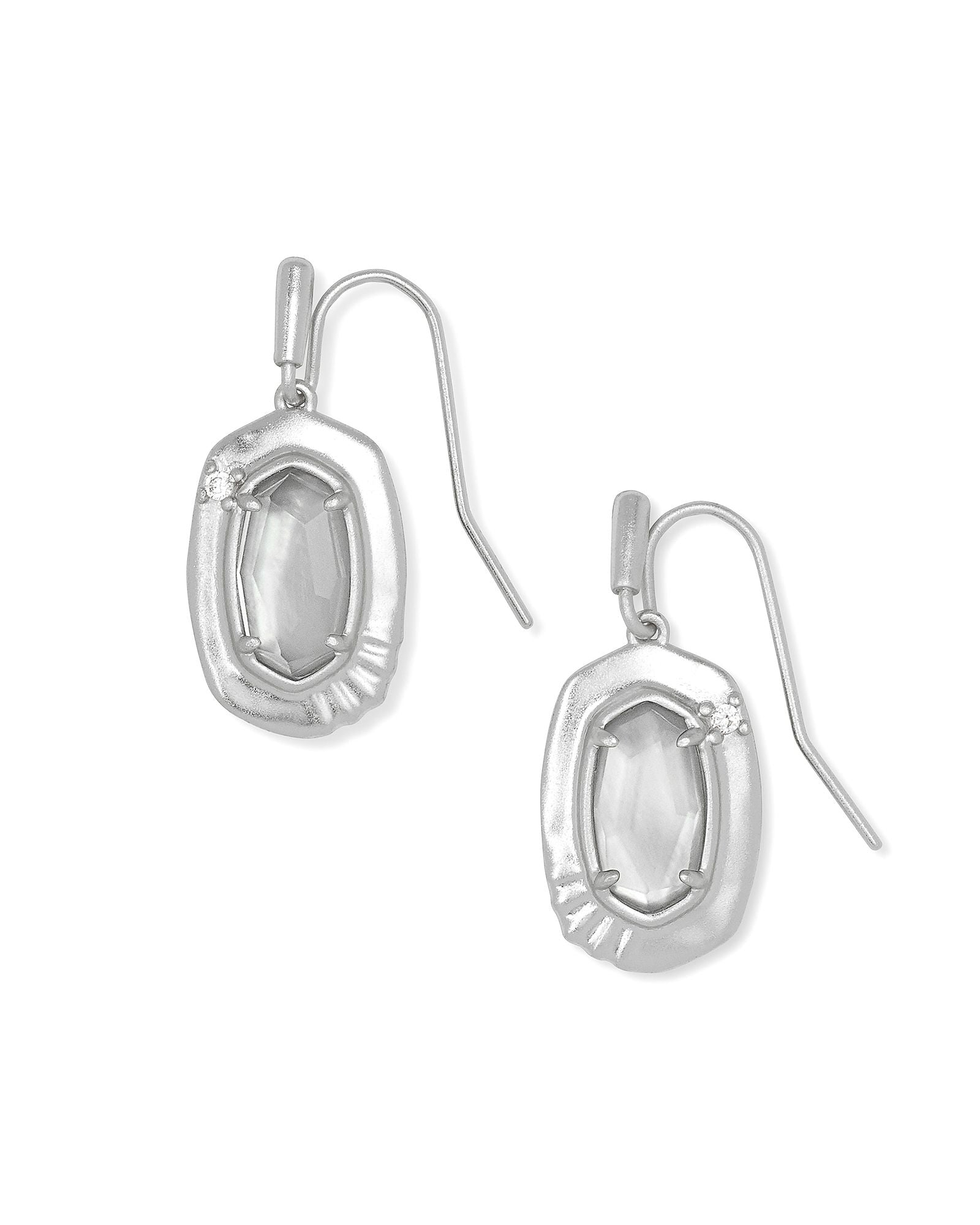 Anna Small Drop Earrings in Rhodium Gray Illusion