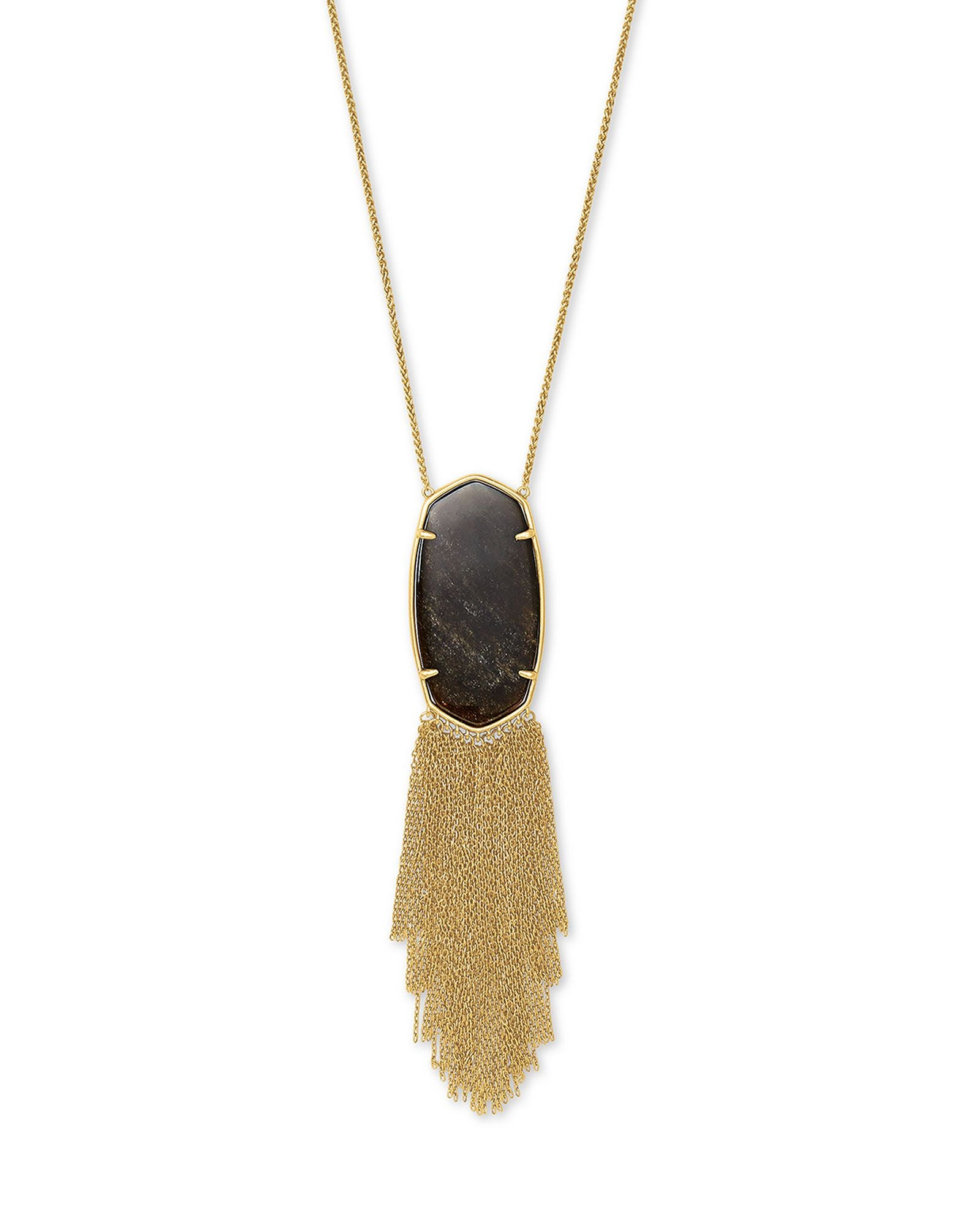 Deanna Long Pendant Necklace in Vintage Gold and Golden Obsidian