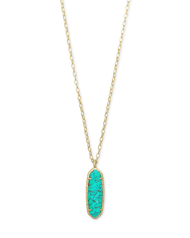 Layla Long Pendant Necklace in Bronze Veined Teal Magnesite