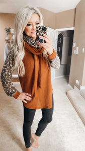 Leopard Waffle Pullover