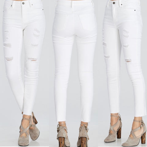 White Distressed Denim