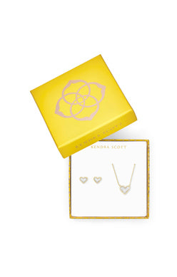 Kendra Scot Ari Gold Ivory Mother of Pearl Heart Gift Set