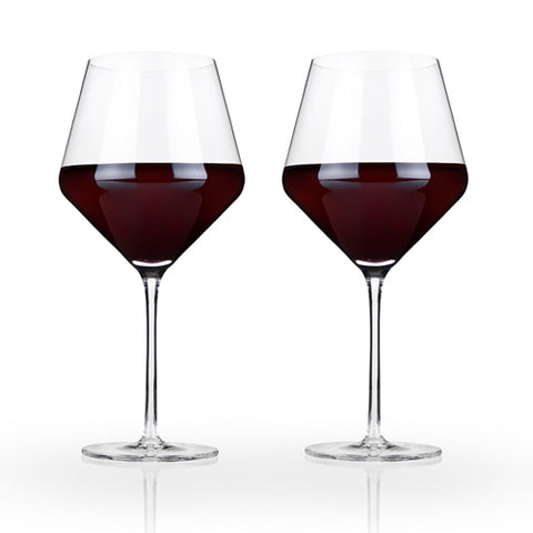 Viski - Raye Crystal Burgundy Glasses (Set of 2)by Viski