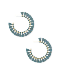 Evie Gold Hoop Earrings in Turquoise
