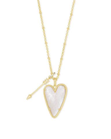 Ansley Drop Necklace in Gold Ivory Mother of Pearl