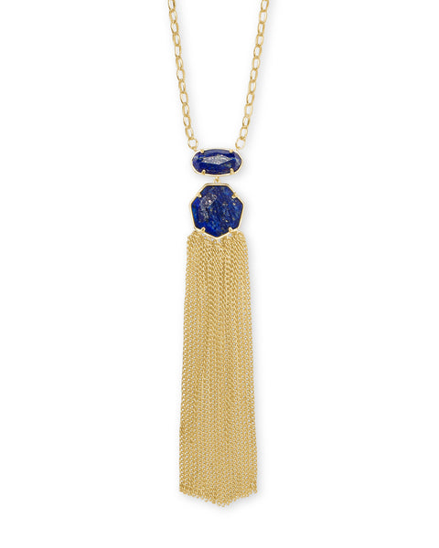 Tae Gold Pendant Necklace in Gold Blue Lapis