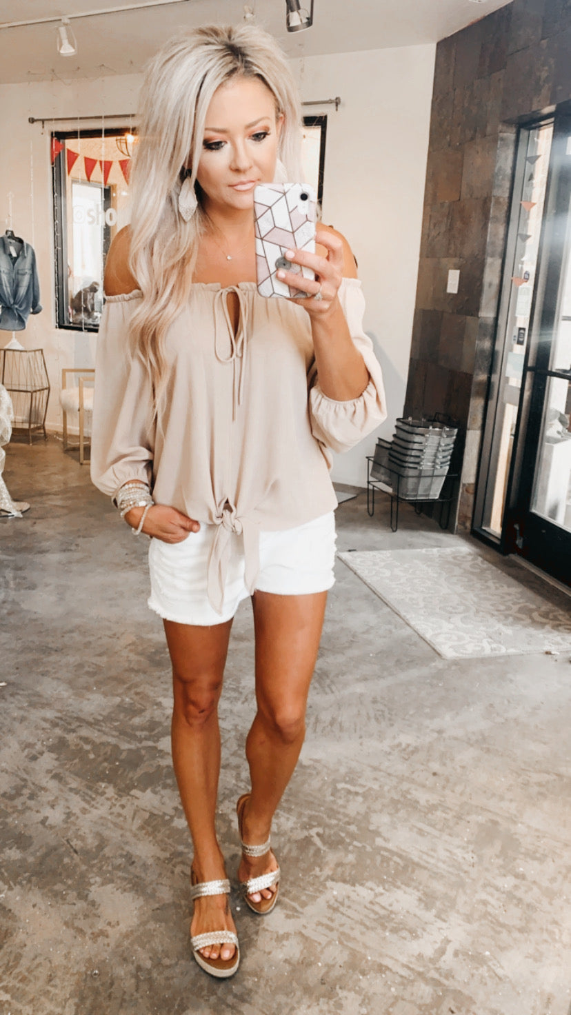 Double Take Off Shoulder in Taupe