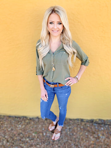 Kyle Olive Button Down Blouse