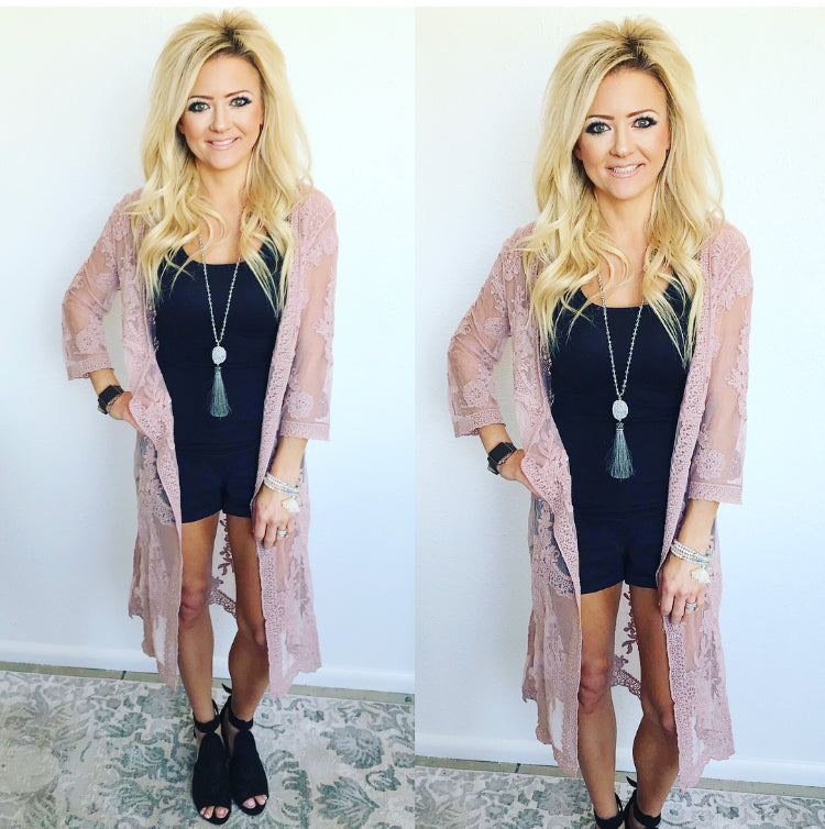 Dusty Rose Lace Duster