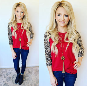 Red Leopard Baseball Tee