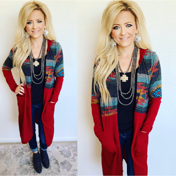 Yuma Red Aztec Sweater