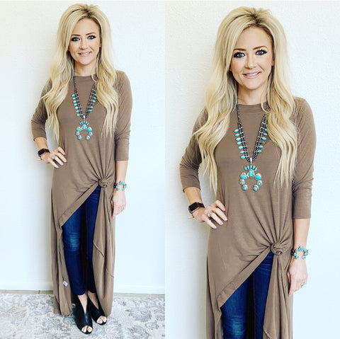 Taupe 3/4 Sleeve Hi-Low