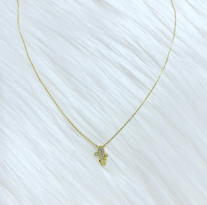 Tiny Crystal Cactus Necklace