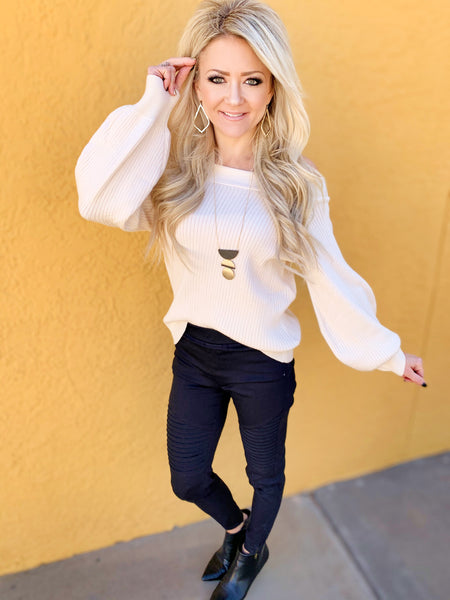 Bailey Balloon Sleeve Sweater in Ivory