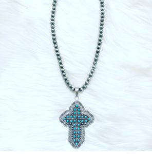Santo Domingo Turquoise Cross Necklace