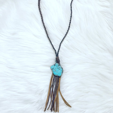 Regan Turquoise and Leather Necklace