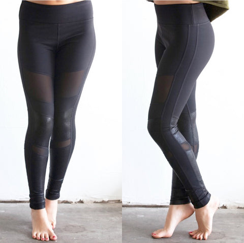 Snakeskin Mesh Cutout Leggings