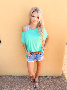 Shelby Off-Shoulder in Seafoam
