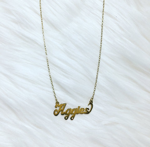 Gold Aggie Necklace