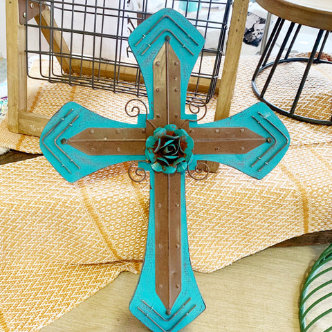 Turquoise Rose Cross