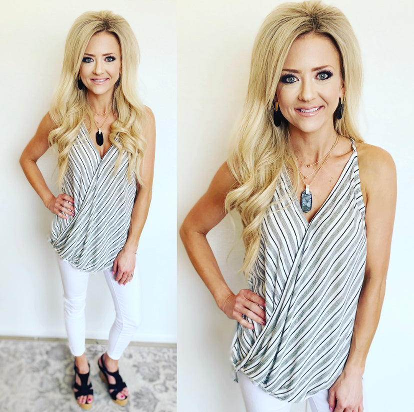 Black and White Crossover Top