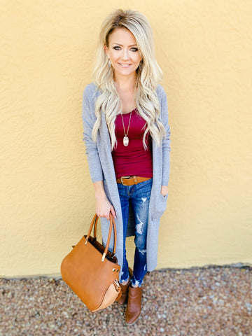 Fireside Full Length Cardigan in Gray