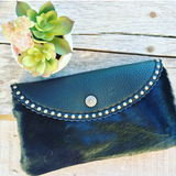 Hair on Hide and Leather Clutch