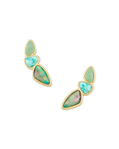 Ivy Gold Ear Climber in Sea Green Mix